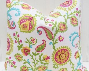 Pink Floral Pillow, Throw Pillow, Decorative Pillow Suzani Floral Pillow, Pink Blue Green Pillow, Accent Pillow, Pink Cushion, Floral Pillow
