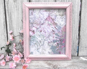 Shabby Chic 8 x 10 Pink Frame, Single 8 x 10 Painted Picture Frame, Upcycled Picture Frame