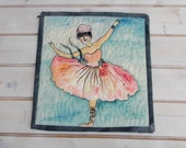 Mini art quilt quilt ballerina mixed media Edgar Degas Ballerine