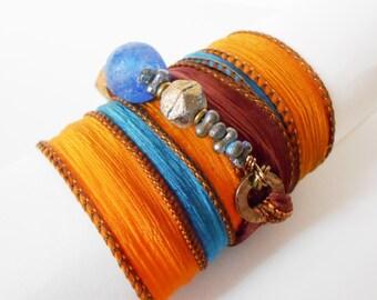 orange ribbon wrap bracelet, blue beaded ribbon wrap, yoga inspired wrap bracelet, bohemian wrap bracelet, ribbon wrap, gift for her