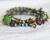 Hand crocheted Czech beads triple cut classic