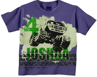 Boys Monster Truck Shirt, Personalized Purple and Green Monster Truck Birthday T-Shirt, Boys Shirt, Boys Top