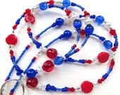 SPIRIT DAYS- Beaded ID Lanyard- Czech Glass Beads, Sparkling Crystals, Cat's Eye Beads, & Glass Pearls (Magnetic Clasp)