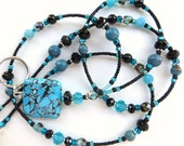 SOUTHWEST ELEGANCE- Beaded ID Lanyard Badge Holder- Turquoise, Sky Jasper, Blue Frosted, & Onyx Agate Gemstones, Czech Crystals (Magnetic)