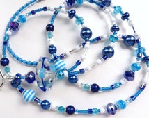 AQUARIUM FUN- Beaded ID Lanyard- Lampwork Fish, Polymer Clay, Glass Pearls, & Sparkling Blue Crystals (Comfort Created)