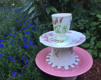 Ever Blooming Pink and Green Garden Totem, Tea CupTotem, Bird Feeder, Vintage Pedestal Plate, Yard Art