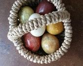 Vintage Petite Easter Basket w/Old Stone Alabaster Marble Eggs
