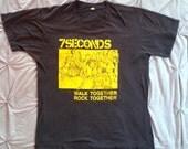 Vintage 7 SECONDS 1984 ORIGINAL Walk Together Rock Together T Shirt 80s