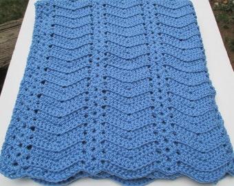 "Crochet Ripple and Shells Baby Blanket - Bluebell Blue - 30"" x 33"" - Infant Afghan"