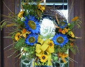 Grapevine Wreath with PERIWINKLE and YELLOW SUNFLOWERS