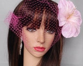 Pink Hibiscus Flower Birdcage Veil-Pink Bridal Birdcage Veil-Pink Hibiscus Fascinator- For Bride or Quinceanera Girl