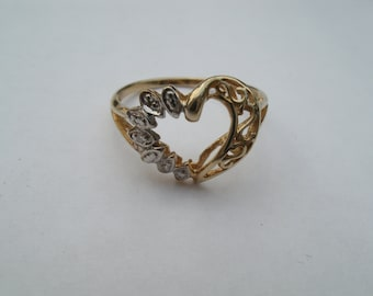 10K Gold Ring with Tiny Diamonds - Open Heart Ring - Sweetheart Gift - Size 7 Finger Ring