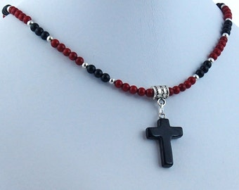 Black Onyx Cross with Deep Red Coral and Black Onyx Necklace, Stone Cross Pendant, Christian Necklace, Religious Jewelry