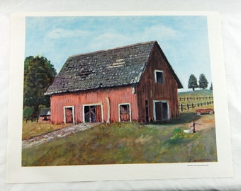 Vintage 1968 Dwight D. Eisenhower The Deserted Barn Canvas Print