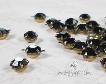 Jet black 6mm crystal connector (x6)