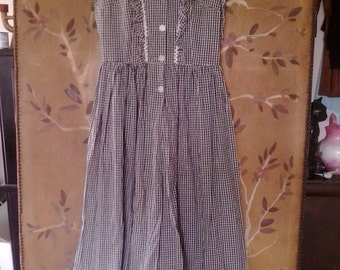 80s black and white gingham maxi dress