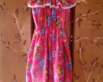 80s Sears bright pink flowered strappy sun dress