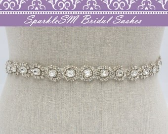 Bridal Sash, Wedding Sash, Bridal Belt, Crystal Bridal Sash, Rhinestone Sash, Jeweled Belt Wedding Gown Belt Thin Bridal Belt Swarovski Sash