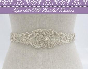 Braided Rhinestone Beaded Bridal Sash, Wedding Sash, Bridal Accessories, Crystal Sash Crystal Bridal Sash, SparkleSM Bridal Sashes,  Kayla