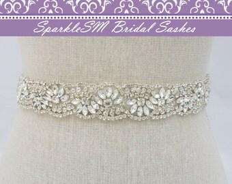 Crystal Rhinestone Bridal Sash, Swarovski Crystal Beaded Bridal Belt, Rhinestone Sash, Bridal Belt, Bridal Sash, SparkleSM Bridal, Anna