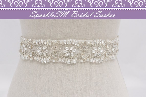 Crystal Bridal Sash, Beaded Bridal Belt, Wedding Dress Sashes, Rhinestone Bridal Sash, Ivory Bridal Belt, SparkleSM Bridal Sashes, Tess