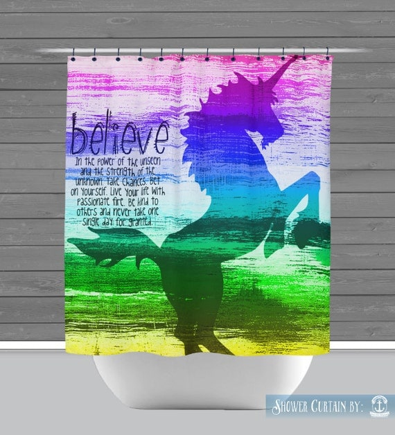 Rainbow Unicorn Shower Curtain Believe In Inspiration 12