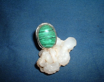 Discount Price!  Malachite Gemstone and Sterling Silver Ring, In Your Size with Free USA Shipping, Item 763