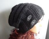 knit hat slouchy women men beanies style hat Slouch Beanie Large knit hat knit hat beanie chunky knit hat winter hat charcoal Oversized Hat