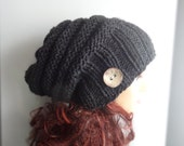 Handmade Knit Hat Beanie Slouchy Hat # 20 Beanie Large Women charcoal or ANY COLOR hat Baggy Slouchy hat Warm hat Girls Hats coconut button