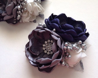 Corsage Pin - Navy Blue, Charcoal Grey, and Cream Corsage Pin - Fabric Flower Pin, Mother of the Bride, Mother of the Groom, Grandmother's