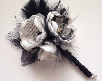 Boutonniere - Black and Cream and Gold Boutonniere with Feathers - Groom's Boutonniere, Men's Boutonniere, Fabric Flower Boutonniere