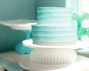 Low Cake Stand for Custom Tiered Wedding Cakes / Ruffle Cake Stand with Hobnail Details