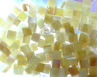 "TINY YELLOW PINEAPPLE 100 1/4"" Stained Glass Mosaic Tiles T1"