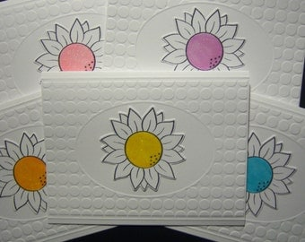 Diecut Sunflower Embossed Notecards
