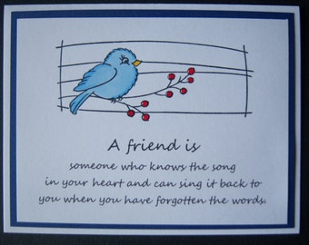 Blue Bird with Red Berries Friend Card