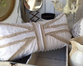 The 'Shabby Brit' Large Lumbar Pillow ~ Linen and Vintage Chenille ~ Feather Pillow, Cottage Chic Decor