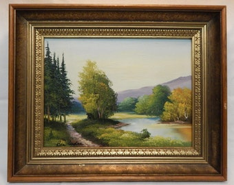 Vintage European Landscape River Oil Painting on Canvas / Art / Home Decor By Bea Andre