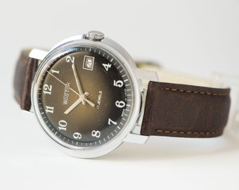 Black men's watch, chunky dude's watch East, dress watch big, minimalist watch him, premium leather strap new