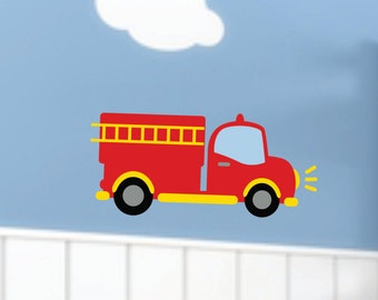 Fire Truck Decor - Small Decal - Truck Wall Decal - Childrens Wall Decal -  Fire Truck Wall Art - Wall Decal