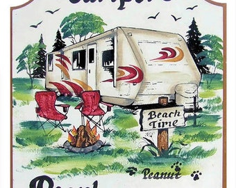 travel trailer signs, camping signs, rv signs, personalized