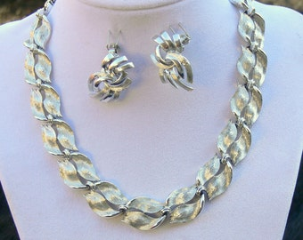 lisner silvertone necklace and Coro silvertone clip earrings