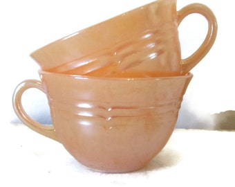 On Sale Pair of Fire King Orange Luster ware tea coffee cups 3 ribbed lustreware gift for her housewares china
