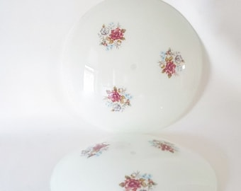 Vintage Frosted Glass Domed Floral Light Shade Vintage Lighting Cottage Chic Decor Vintage Ceiling Shade Floral Glass Lighting Roses Pink