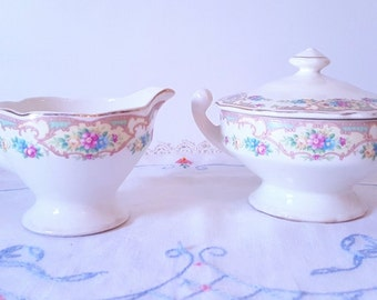 Vintage Serving Dinnerware Floral Rose Sugar Creamer Set Pink Yellow Rose Garland Covered Sugar Bowl Small Pitcher Cream Syrup Pitcher