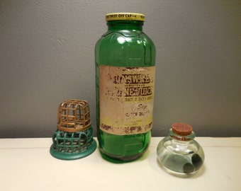 Vintage Green Glass Water/Juice Bottle