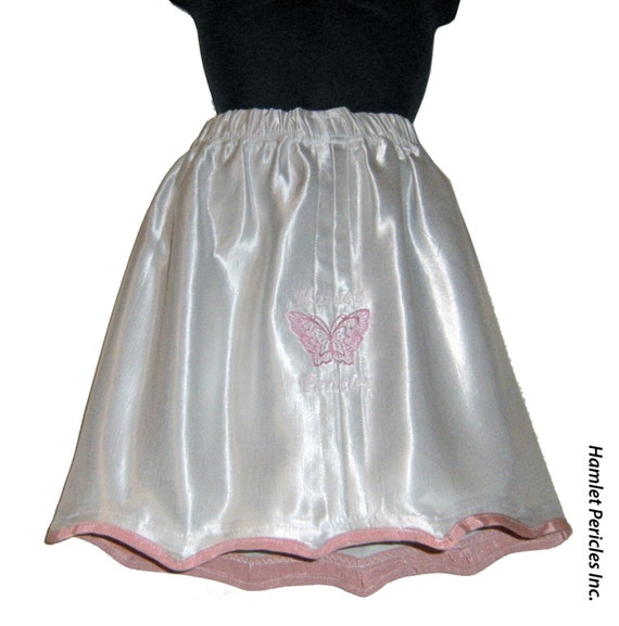 Cream satin silk butterfly embroidered skirt by Hamlet Pericles