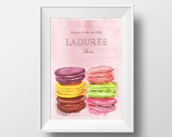 Ladurée Macaroons Watercolour Illustration Giclée Print