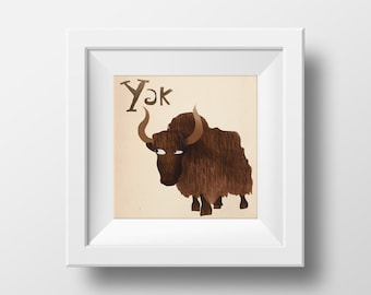 Animal Alphabet Yak Illustrated Nursery Wall Art Giclée Print