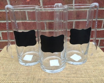 Set of 3 Candy Buffet Jars~Wedding Candy Buffet Jars~Birthday Candy Buffet Jars~Chalkboard Candy Jar~Come with 3 Tongs~Birthday Party Decor
