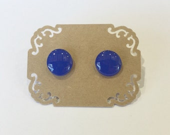 Hand Painted Blue Stud Earrings